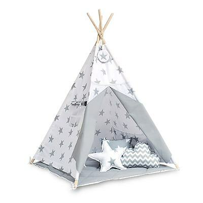 Teepee set with floor mat - Bright Grey