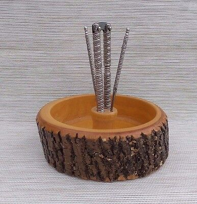 Vintage Wooden Nut Bowl Tree Bark With Nut Cracker And 2 Picks Felt Bottom