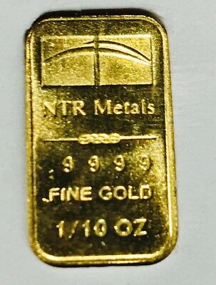 NTR METALS 1/10 oz Gold Bar 9999 New MINT USA Bullion troy 999 Round Coin