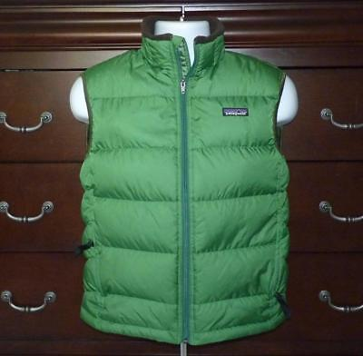 Boy's Patagonia Polyester Quilted Full Zip Puffer Vest Green Size Large - 12