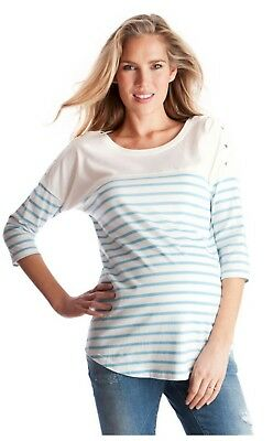 maternity jumper nursing top seraphine white and blue striped size 8