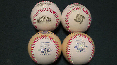 Lot of 4 vintage specialty MLB baseballs WBC World Series Home Run Derby Gold