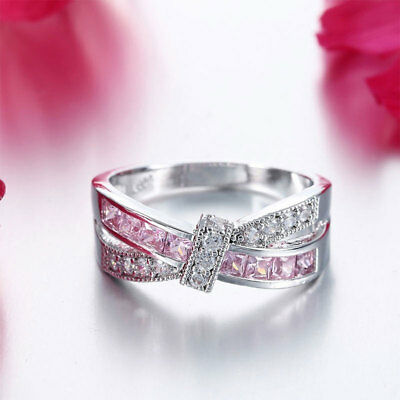Women's 925 Sterling Silver Plated Crystal Rings Fashion For Wedding Party