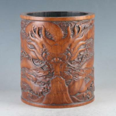 Chinese Bamboo Pole Hand Carved Dragon Brush pot DY0476