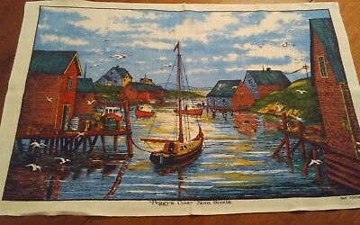 Vtg irish linen viscose tea towel peggy's cove Nova Scotia Canada very nice