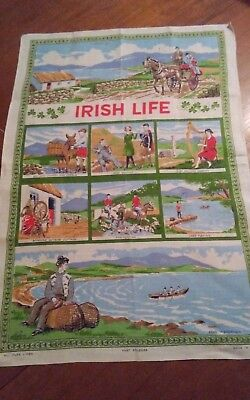 Vtg irish linen Nelson tea towel Irish Life large size very pretty