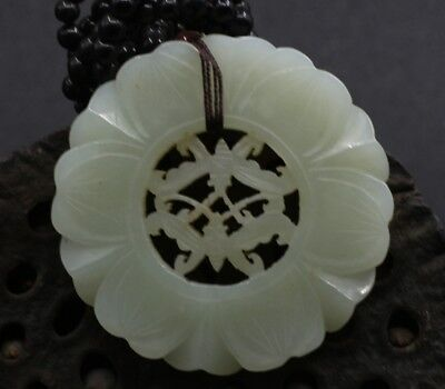 Chinese Exquisite Hand-carved Bats and flowers carving Hetian jade Pendant