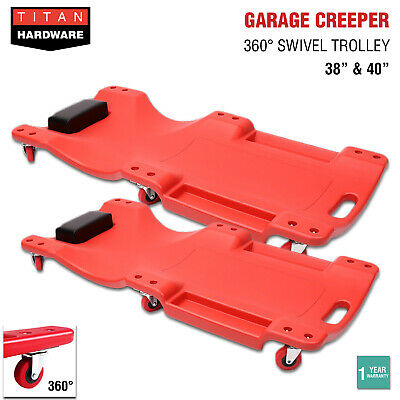 Garage Creeper Mechanic Workshop Trolley 360 Swivel Wheels Castor Car Roller Red