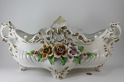 "Vtg Beautiful Capodimonte Comacchio Floral Rose Centerpiece Bowl Italy 17"" Large"