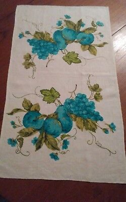 Vintage linen tea towel reverse graphics turquoise pears grapes very nice