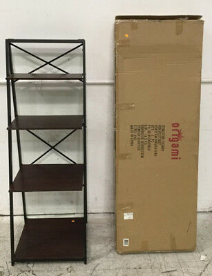 (2)pc. Origami Collapsible Wood Shelf Display Rack Lot 2453