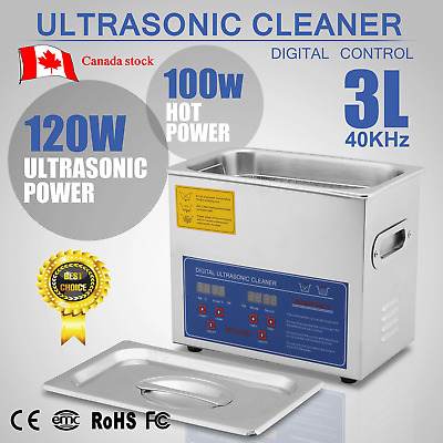 New Stainless Steel 3L Liter Industry Heated Ultrasonic Cleaner Heater Timer t