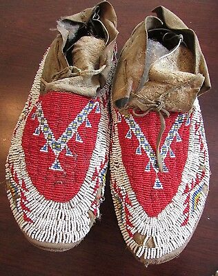 Antique  LAKOTA / PLAINS BEADED MOCCASINS  classic design 10.5""