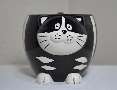 Black And White Striped Cat With Curly Tail Handle Coffee Mug Pier 1 Imports