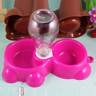 Small Automatic Pet Food Drink Dispenser Dog Cat Feeder Bottle Water Bowl Dish