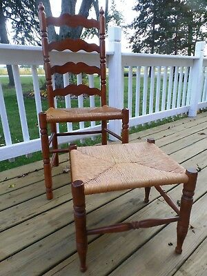 Tell City Maple Ladderback Chair 2312 Andover Matching Footstool