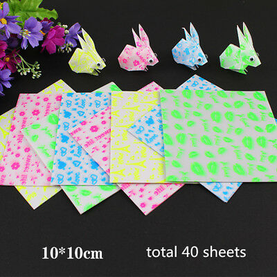 40Pcs Mixed Colors Luminous Square Origami Folding Lucky Paper 10cm Glow in Dark