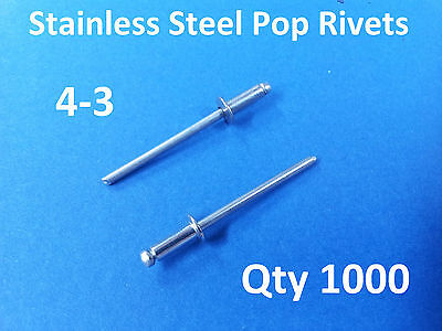 """1000 POP RIVETS STAINLESS STEEL BLIND DOME 4-3 3.2mm x 8mm 1/8"""""""