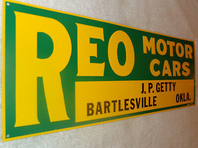 "Vintage Reo Speed Wagon Motor Cars Company 20"" X 7"" Gasoline Oil Car Metal Sign!"