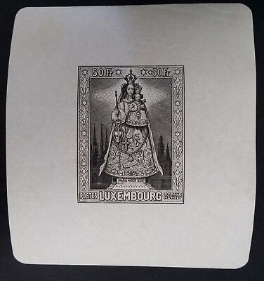 RARE 1945 Luxembourg Our Lady Minisheet with 50+50 Fr blackish grey stamp Mint