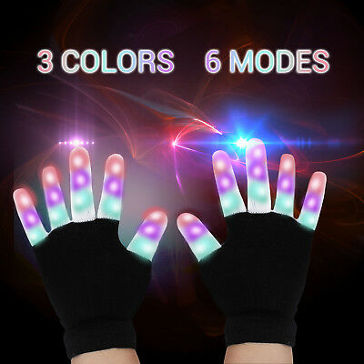 Bunte  LED Handschuhe Leuchtenden Coole Spielzeuge Gloves Party Halloween Club
