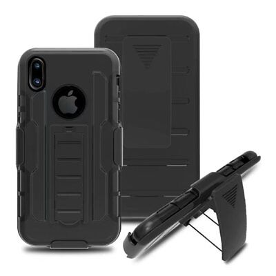 Shockproof Hybrid With Kickstand Holster Belt Clip Case Cover For Apple iPhone X