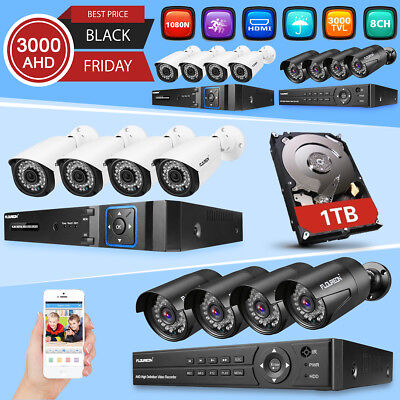 1TB HDD FLOUREON 8CH 1080P DVR Outdoor 3000TVL Home CCTV Security Camera System