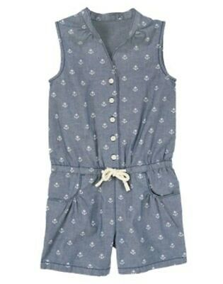 NWT Gymboree Stripes and Anchors 4 5 7 8  Allover Anchor Romper Jumper