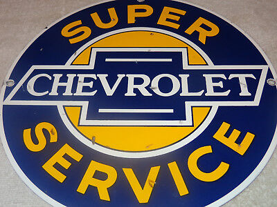 "Vintage Chevrolet Super Service 11 1/4"" Porcelain Metal Cars, Gasoline+ Oil Sign"