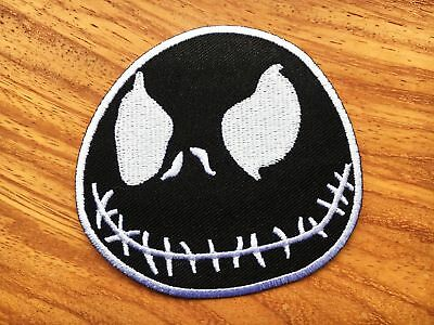 NIGHTMARE BEFORE XMAS JACK SKELLINGTON EMBROIDERED SEW/IRON ON PATCH White&Black