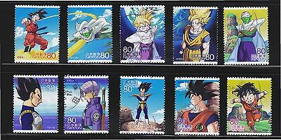 Japan 2012 Animation Hero 17Th Issue Dragon Ball Z Kai Comp. Set 10 Stamps Used