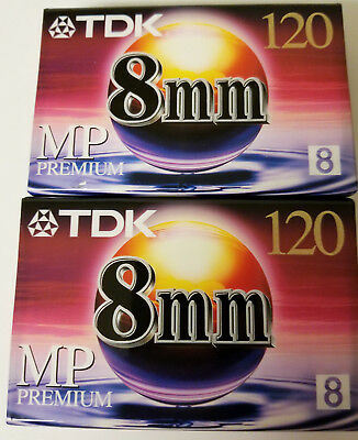 TDK Blank 8mm Premium Video Camcorder Cassette Tape 120 2 pack. Free shipping
