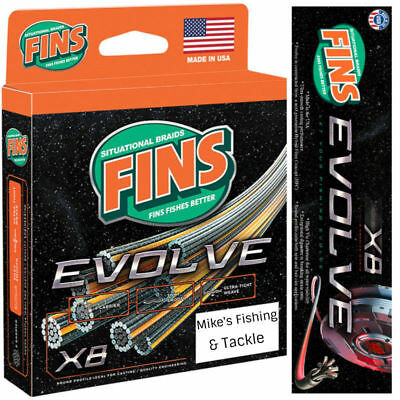 FINS EVOLVE X8 Braid 150yd Superline Fishing 8 Carrier Braided Line CHARTREUSE