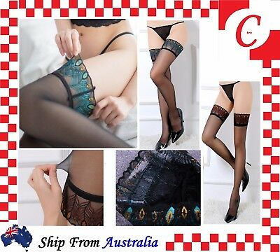 Women Sexy Sheer Peacock Lace Top Thigh High Over Knees Long Stockings Non-Slip