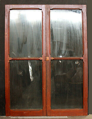 44x60 Pair Antique Vintage Wood Wooden Cabinet Bookcase Cupboard Door Wavy Glass