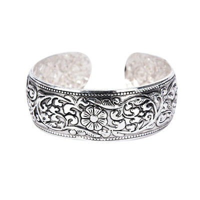 New Tibetan Silver Totem Bangle Carved Lucky Flower Bangle Cuff Bracelet EF