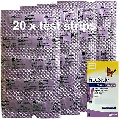20x Abbott Ketone Test Strips Freestyle Optium Precision Xtra Teststreifen 12/18