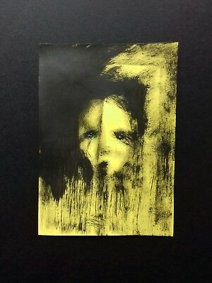 Original A5 expressionist  portrait in acrylic paint. Contemporary outsider art