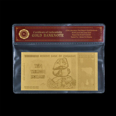 WR 24K GOLD Zimbabwe 10 Trillion Banknote Gold Foil Dollar Note Collectibles COA