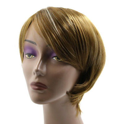 Light Brown Synthetic Japanese Short Hair Straight Full Wig for Woman Girls