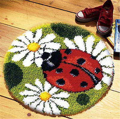 GEX Latch Hook Rug Kit About 19.6'' Cushion DIY Craft Embroidery Ladybug-