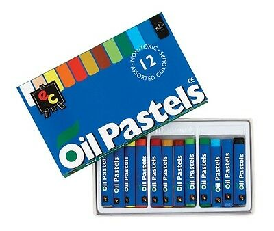 Oil Pastels - 12 Pastels - Non Toxic & Washable - 12 Beautiful Different Colours