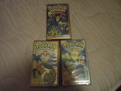 Lot Of Three (3) Pokemon The Johto Journeys Vhs Movies