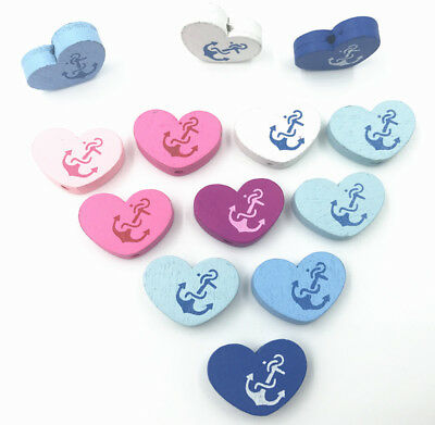 Wooden Heart-shaped Loose Beads Mix color DIY Accessories Anchors pattern 22mm