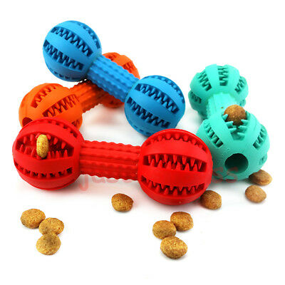 Rubber Dumbbells Chew Treat Ball Pet Dog Puppy Cat Teething Training Diet Toy