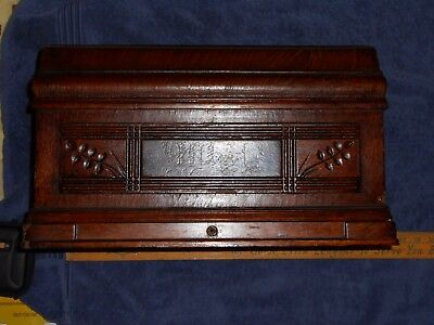 Vintage Ornate Singer Treadle Sewing Machine Wood Coffin Cover Etching Carving