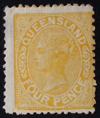 1890- Queensland Australia 4 d Yellow Second Sideface Stamp Mint