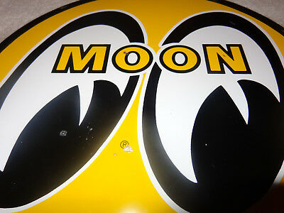 "Vintage Moon Eyes Speed Equipment 11 3/4"" Porcelain Metal Gasoline Oil Sign! Gas"
