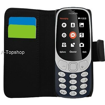 Black Wallet Case PU Leather Book Cover For Nokia 3310 2G (2017) Mobile Phone