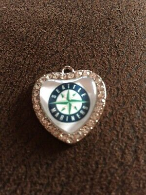 SEATTLE MARINERS Heart Shaped Pendant For Necklace Crystals MLB Baseball